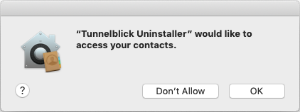 Uninstalling Tunnelblick - Tunnelblick | Free open source